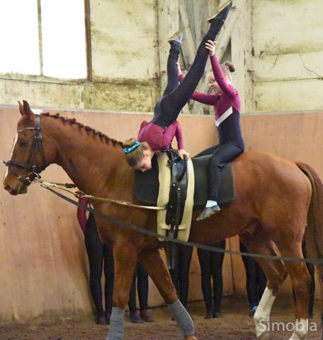 Voltigierkinder turnten auf Pferd Chris. Foto: Michael Sittig