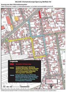 Die Skizze des zuständigen Amts zeigt die geplante Verkehrsführung während der Kanalarbeiten in der Okrifteler Straße.