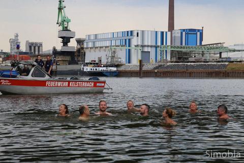 Über den Main schwammen Marco Greiner, Mark Mühlbauer, Natascha Breckheimer, Thomas Jelitto, Joachim Böhm, Birgit Koob, Kornelia Vossberg und Roland Münz. Foto: Heide Noll